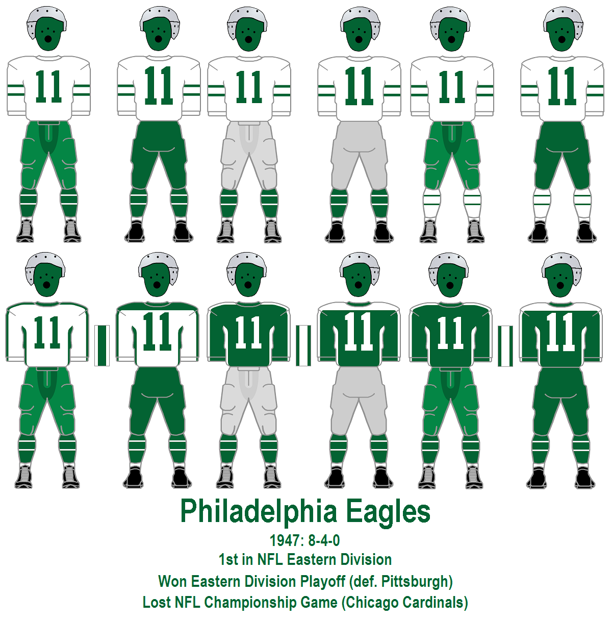 20c0cc08 1947: With the return of the 1944-style white jersey, no less than six  combinations are worn this season. A: white (striped) over green.