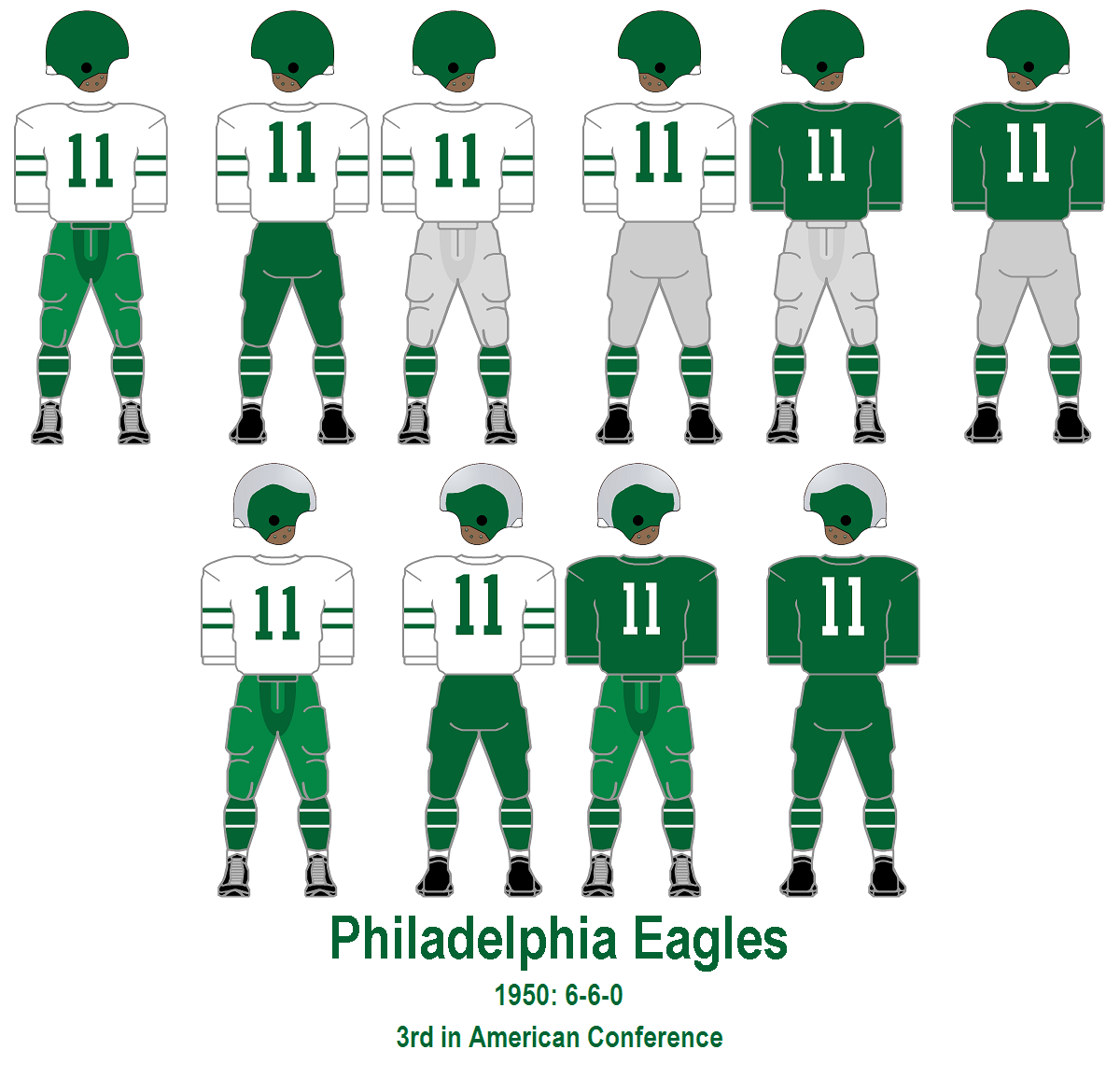 1352e44e217 1950: Green pants make a return, but the green paneled jersey is retired.  The combos: A: silver-green helmets, white jersey, green pants, B: silver- green ...