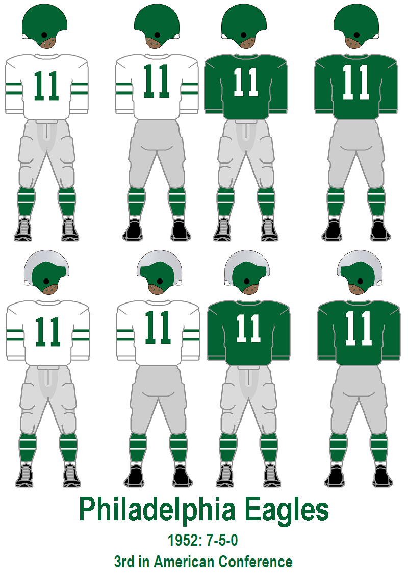 60f75a47 1952: The silver-green helmets make a one year return and are concurrently  worn with the green helmets. The 1951 uni combos remain.